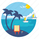 beach, boat, coconut tree, nature, recreation, sea, tourism icon