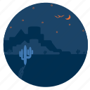 cactus, desert, fort, landscape, moon, night, weather icon