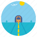 scenery, tunnel, birds, train, cactus, desert, landscape icon