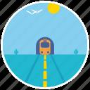 birds, cactus, desert, scenery, train, tunnel, landscape