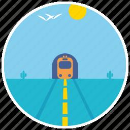 birds, cactus, desert, landscape, scenery, train, tunnel icon
