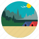 birds, camp, forest, hut, landscape, scenery, trees icon