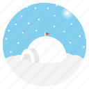 christmas, eskimo, igloo, north pole, winter, landscape, snowfall icon