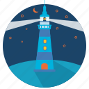 direction, sea, light, tower, navigation, landscape, lighthouse icon