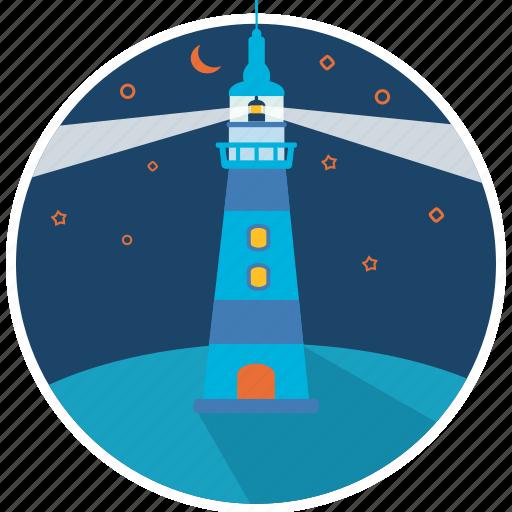 direction, landscape, light, lighthouse, navigation, sea, tower icon