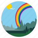 birds, ecology, landscape, nature, rainbow, scenery, trees icon