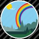 scenery, rainbow, nature, trees, birds, landscape, ecology icon