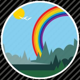 birds, ecology, landscape, nature, rainbow, scenery, trees icon