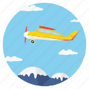 mountain, clouds, jet, sky, tourism, fly, transport icon