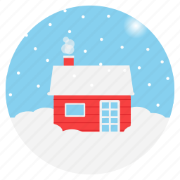 chimney, christmas, cottage, north pole, snowfall, weather, winter icon