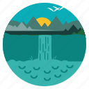 scenery, nature, landscape, trees, waterfalls, environment, ecology icon
