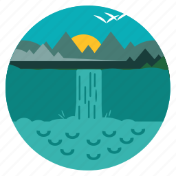 ecology, environment, landscape, nature, scenery, trees, waterfalls icon