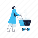 shopping, woman, female, person, shop, ecommerce, cart