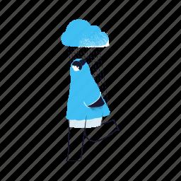 weather, forecast, woman, rain, cloud, raining
