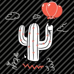 nature, cactus, balloon, decor, decoration, plant, pot