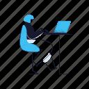 workspace, woman, computer, laptop, desk