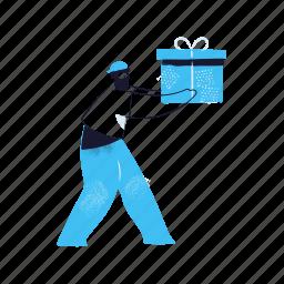 delivery, man, male, person, present, gift, box