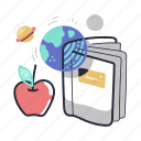 education, universe, learning, book, ebook, planets, apple, knowledge