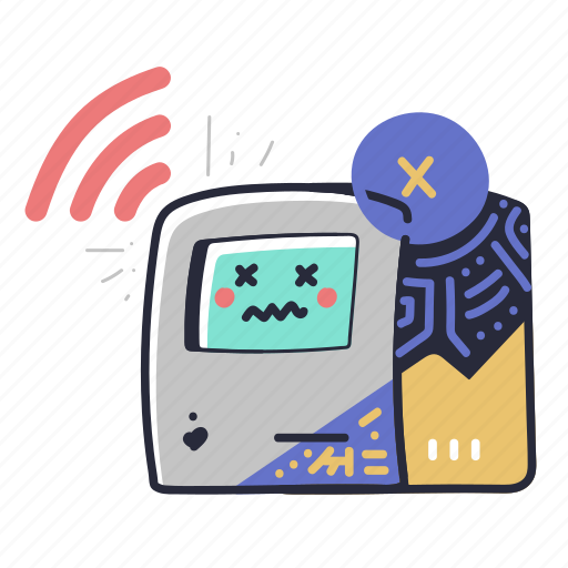 Error, no, signal, computer, atm, machine, fault illustration - Download on Iconfinder