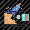 web, development, startup, overclock, speed, launch, rocket, computer, laptop