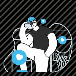 social, media, selfie, like, man, picture, photo, smartphone, love, followers