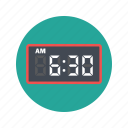 alarm, clock, electronic clock, time, timer, watch icon