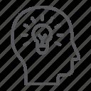 bulb, creativity, human, idea, light, man, solution icon