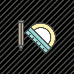 education, pen, pencil, ruler, school icon