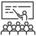 classroom, education, lecturer, lectures, school, seminar, study icon