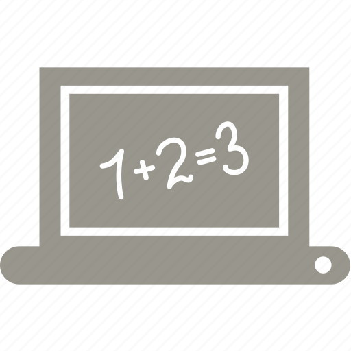 education, laptop, mathematics, school icon