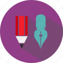education, institute, knowledge, pen, school, science, university icon