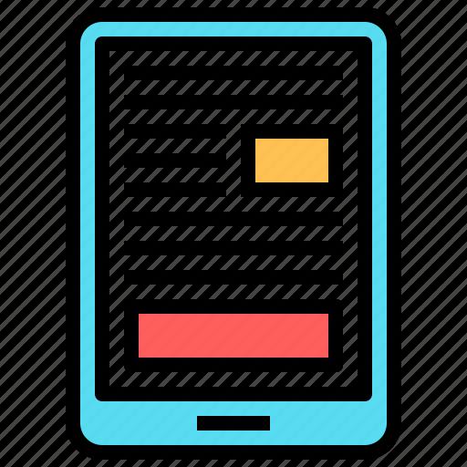 book, digital, ebook, education, read, smartphone, tablet icon