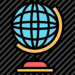 earth, education, geography, globe, planet, school, web icon