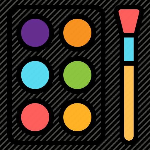 art, brush, colors, draw, paint, palette, watercolor icon