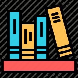 book, bookshelf, education, knowledge, science, study icon