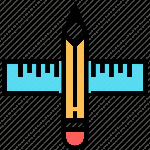 art, design, development, draw, pencil, ruler, school icon