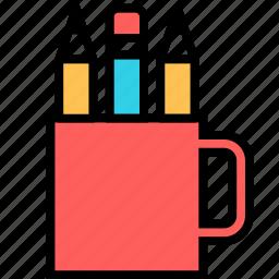 holder, pencil, school, supplies icon