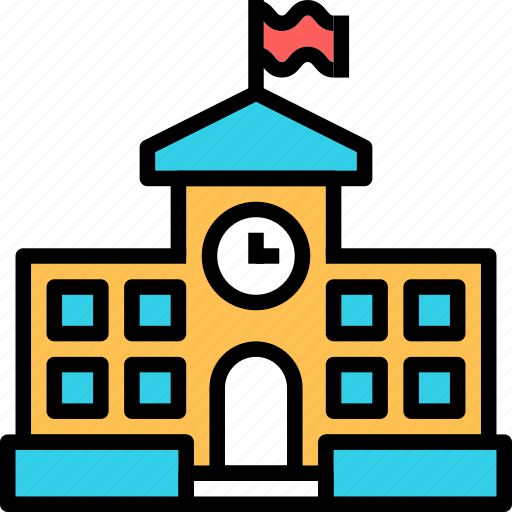 building, clock, education, flag, knowledge, school, study icon