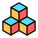 cube, dimension, geometry, scalable icon