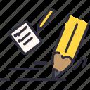 note, paper, pencil, school, write icon