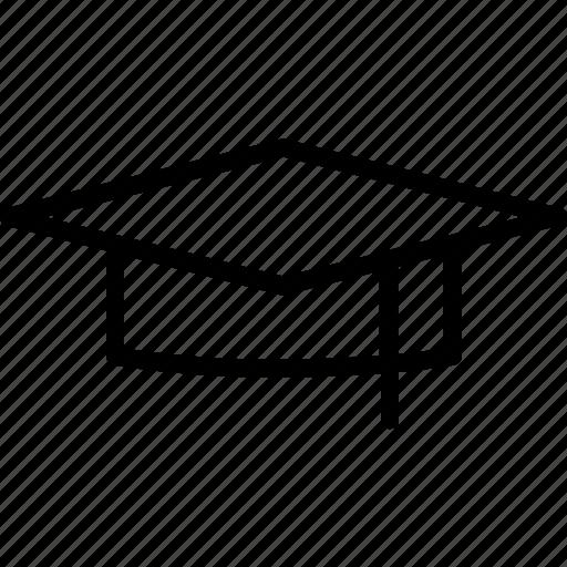 college, education, graduation, graduation cap, hat, line, university icon