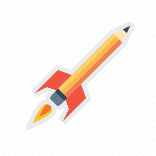education, launch, pen, pencil, rocket, study icon