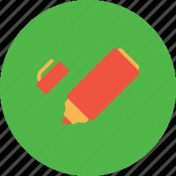 highlightg, marker, pentel, red, sketchpen, study icon