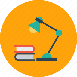 books, education, lamp, night lamp, school, study icon