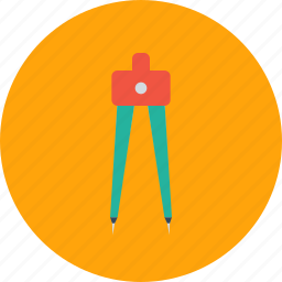 circle, compass, geometry, pen, pencil, round, tool icon