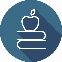 apple, book, education, fruit, study, teaching icon