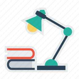 books, lamp, library, reading, study, table icon