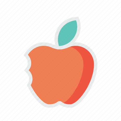 apple, basic, fruit, half, school, study, teaching icon