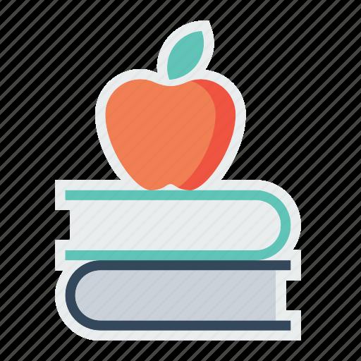 apple, book, education, fruit, study, teaching icon