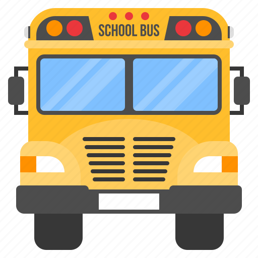 bus, car, education, front, school, student, transportation icon